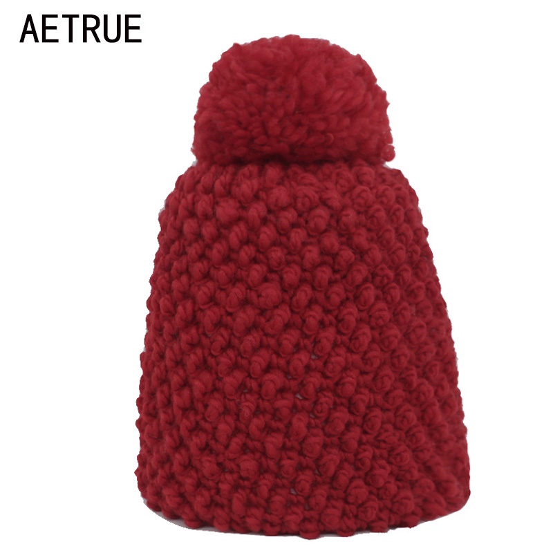 AETRUE Winter Knitted Hat   Beanie   Women Winter Hats For Women Ladies Girls Caps Pom Poms Ball Bonnet Warm   Skullies     Beanies   Hat