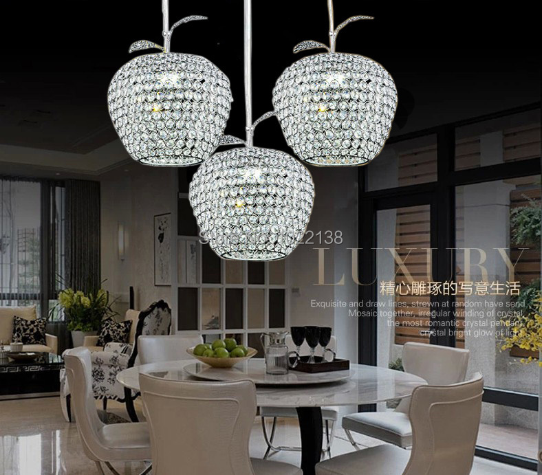 Free Shipping Apple Lustres De Cristal Restaurant LED Modern Chandelier Crystal Lamp 12CM 20CM 25CM 28CM kitchen dining room