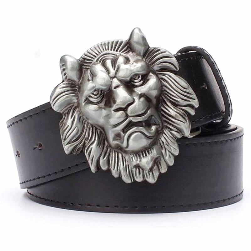 Cool Men's belt big lion head metal buckle Golden lion head belt punk rock style Hip-hop decorative belt for men gift