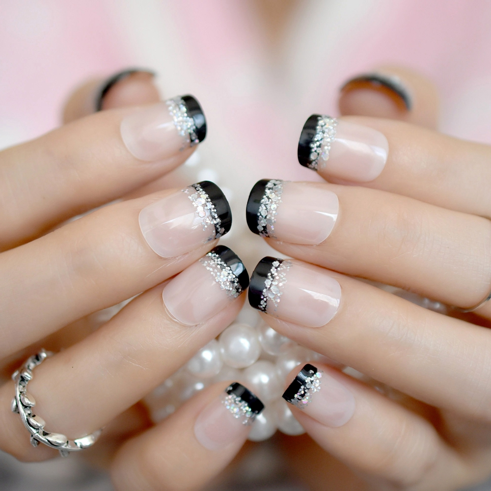 Sparkly Glitter French Nail Tips Black Side Nude Short Full Wrapped ...