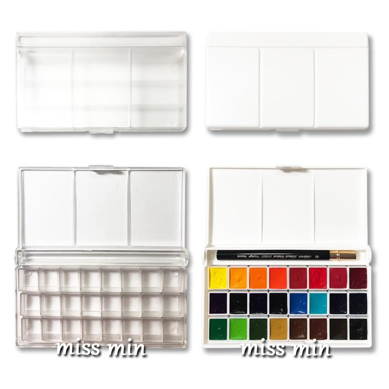 24-colour Plastic Box Acrylic Box Watercolour Pigments Box Half 2ml Watercolour Sub-packed Pigments Receipt Empty Box