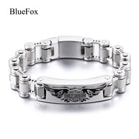 Fashion Charm Wings Skeleton Men Bracelet & Bangle 316L Titanium Stainless Steel Chic Hand Chain Wristband Jewelry Pulseras Gift