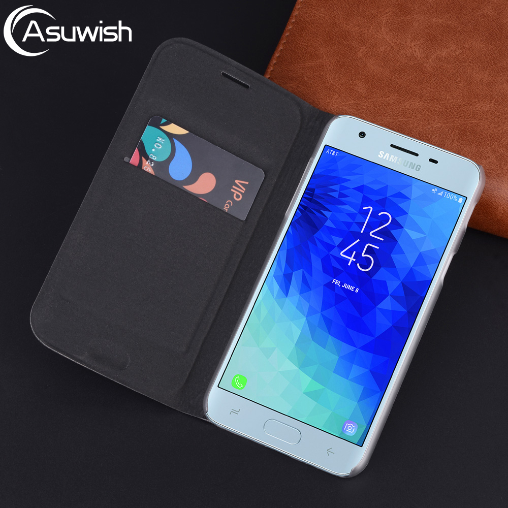 Leather Wallet Cover Flip Case For Samsung Galaxy J2 J3 J7 J8 2018 J4 J6 Plus Grand Prime Pro J 2 3 4 6 7 8 Card Holder Cover image