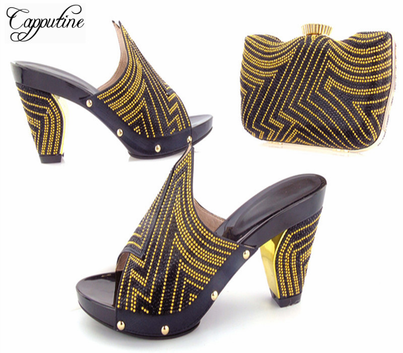 Capputine Latest Italian Style Shoes And Matching Bag Set African Decorated With Rhinestone Wedding Shoes And Bag Set For Women