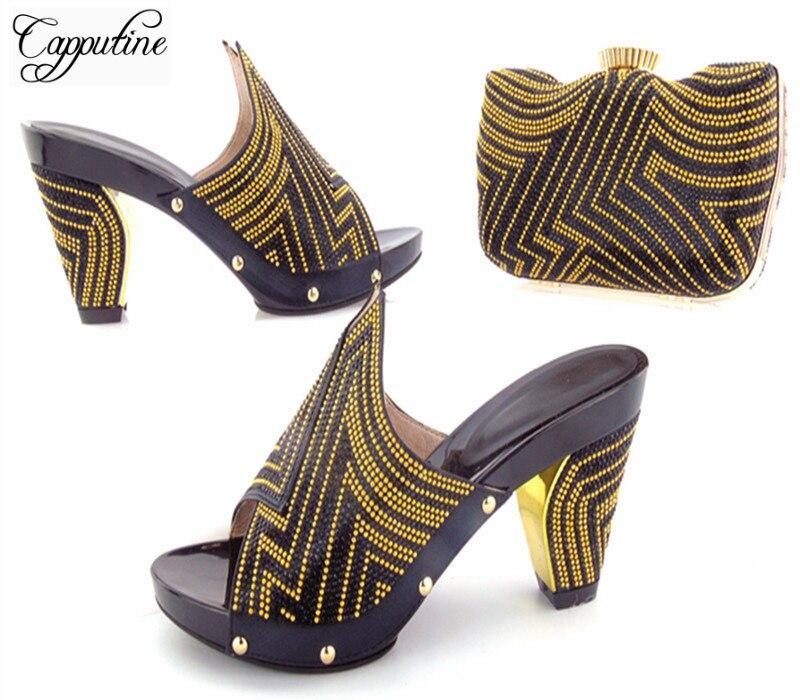 e432180a rojo Bag Africano Con Negro Y Decorado Para Las Set Capputine oro  Rhinestone azul Boda Bolsa Matching Último Zapatos Estilo Mujeres ...