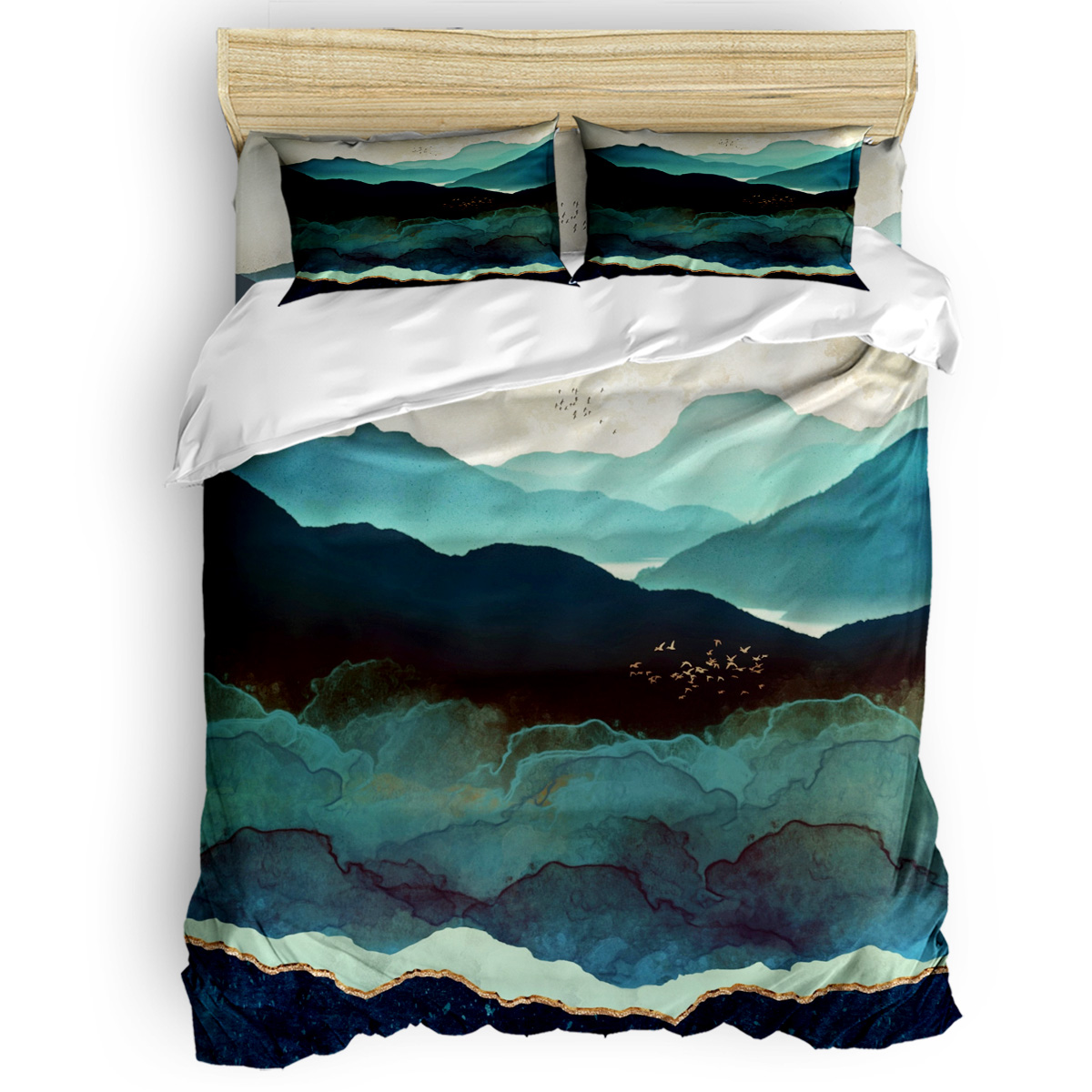 Indigo Mountains Duvet Cover Set Blue and Green Art Design Nature Collection of 3/4pcs Bedding Set Bed Sheet Pillowcases SetIndigo Mountains Duvet Cover Set Blue and Green Art Design Nature Collection of 3/4pcs Bedding Set Bed Sheet Pillowcases Set