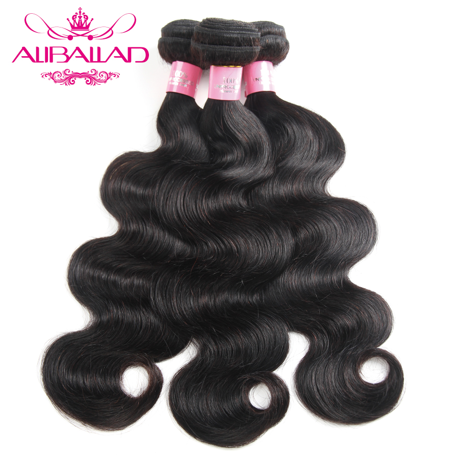 Aliballad Hair Brazilian Body Wave 3 Bundles Natural Color Weave Non Remy Hair Extensions 100 Human