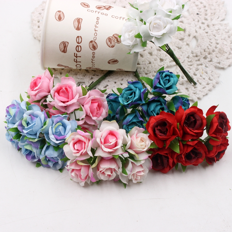 6pcs/lot 8cm New Rose Bouquet Artificial Flowers For Diy Wreath Wedding Home Decoration Eternal Rose In Fabrics For Decoration