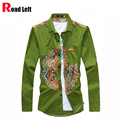 Male 2016 Casual Shirt Camisas Men Long Sleeve Slim Fit Shirts Desigual Social Mens Geometric Floral Printed Shirt 5 Colors XXL