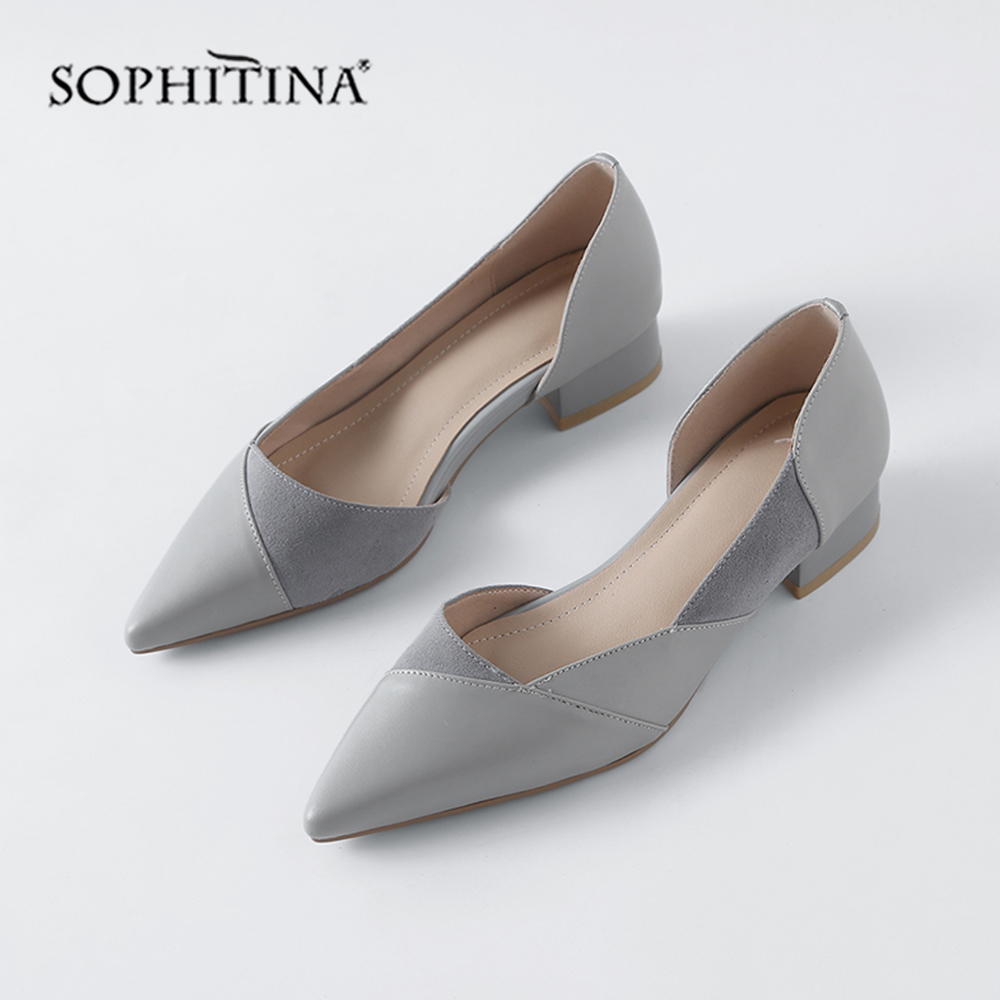 SOPHITINA Fashion Patchwork Women 39 s Flats High Quality Genuine Leather Comfortable Shoes Slip on Pointed Toe Shallow Flats MO160 in Women 39 s Flats from Shoes