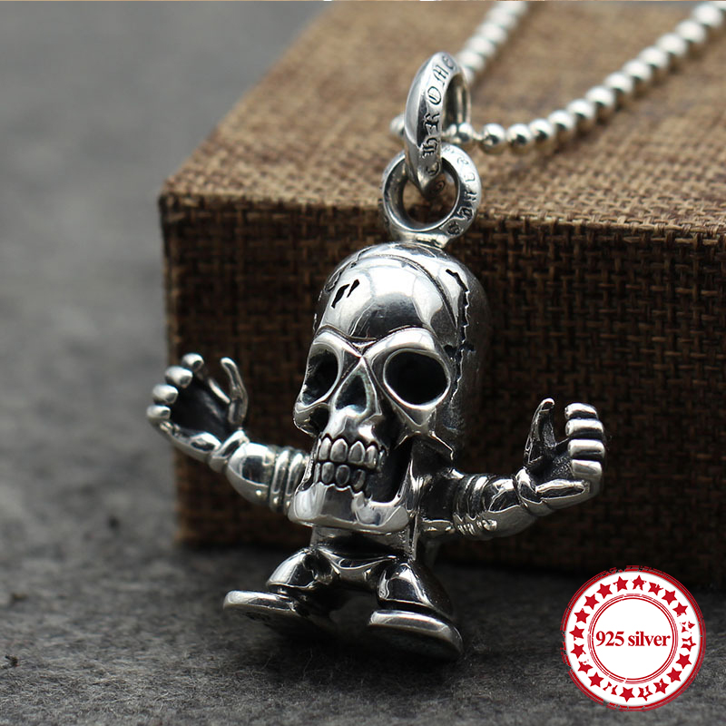 s925 sterling silver men's pendant retro personality classic punk locomotive style hip hop skull sweater chain jewelry gift цена 2017