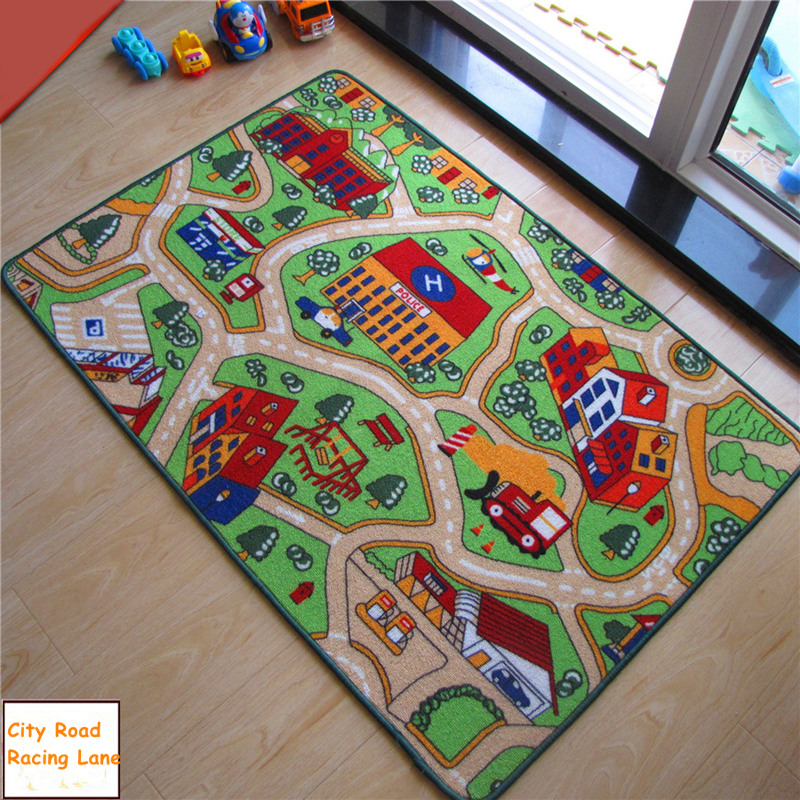 120*80cm Polyester Play Mat Large Playmat Non-slip Playing Mats <font><b>for</b></font> Kids Cars Racing Car <font><b>Toys</b></font> Games Children Room Rug Home Decor