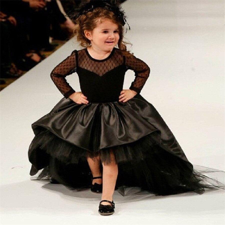Black Flower Girl Dresses High Low Scoop Long Sleeves Floor Length Satin Tulle Ball Gown Kids