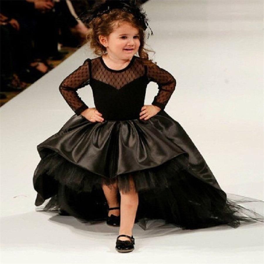 Black Flower Girl Dresses High Low Scoop Long Sleeves Floor Length Satin Tulle Ball Gown Kids Wedding Party Dresses