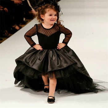 Black Flower Girl Dresses High Low Scoop Long Sleeves Floor Length Satin Tulle Ball Gown Kids Wedding Party Dresses - DISCOUNT ITEM  38% OFF All Category