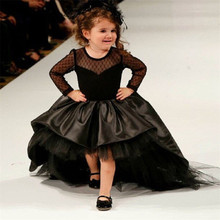 Czarny kwiat dziewczyna sukienki wysoki niski Scoop długie rękawy piętro długość satynowe tiulowa sukienka balowa dzieci wesele sukienki