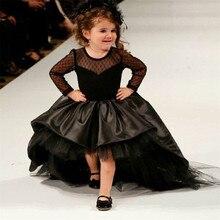 Vestidos de festa infantis, vestidos de flores pretos para meninas, cano baixo, mangas compridas, vestido de baile de cetim, vestidos de festa de casamento para crianças