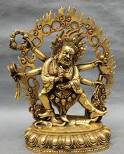 wholesale factory 11 Tibet Brass Buddhism Joss Protect 6 Arms Mahakala Buddha Statue Sculpture