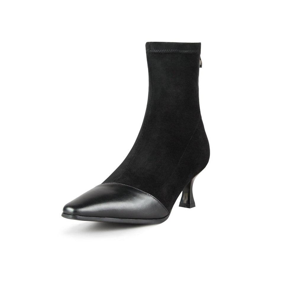 Eshtonshero Taille Troupeau gris Dames Talons Élégant Véritable Femme Cheville 34 Cuir Hauts Noir Gris Moto Mince Chaussures 40 À Bottes En r10aRrFq