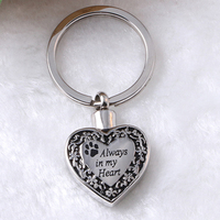 Pet Keepsake Ashes Keychains Cremation Memorial Jewelry Funeral Urn Keychain Paw Prints Always In My Heart