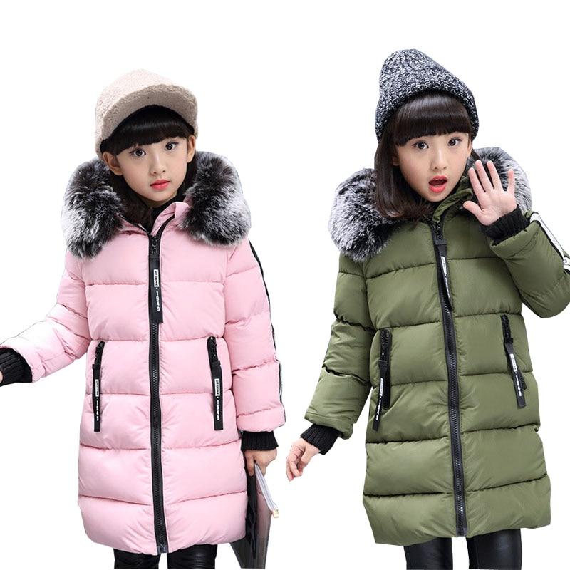 0548dfd5f Comprar Invierno gruesa chaqueta para niñas larga Parkas abrigos para niños  de algodón acolchado abrigo 6 8 10 12 14 años las niñas abrigo Online  Baratos