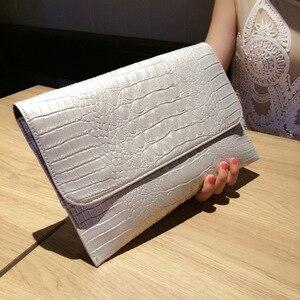 Image 5 - נשים מעטפת ערב מצמד שקיות לבן תנין דפוס נשי אמיתי עור כתף שקיות Crossbody ארנקי & תיקי A121