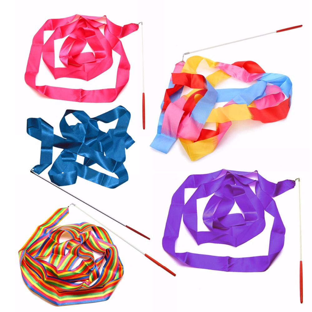 Baru Kedatangan 4 M Dance Twirling Ribbon Rod Gym Senam Streamer Tongkat Baton Berirama Art Senam Warnawarni 10 Warna