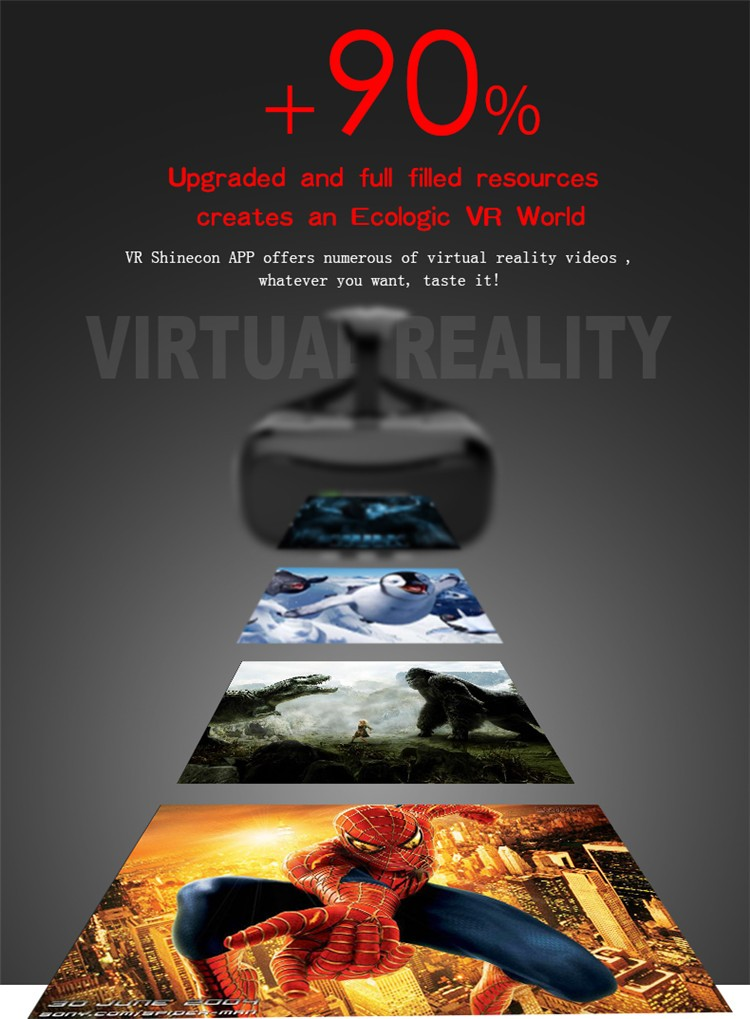 VR Shinecon II 2 Virtual Reality Googles Headset 3D IMAX Video Movie Game Glasses Private Theater for 4.7 - 6 inch Mobile Phones (10)