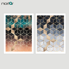 Abstract Art Decorative painting Soft Blue Gradient Cubes Wall Canvas Painting Nordic Poster Print Picture NO Frame