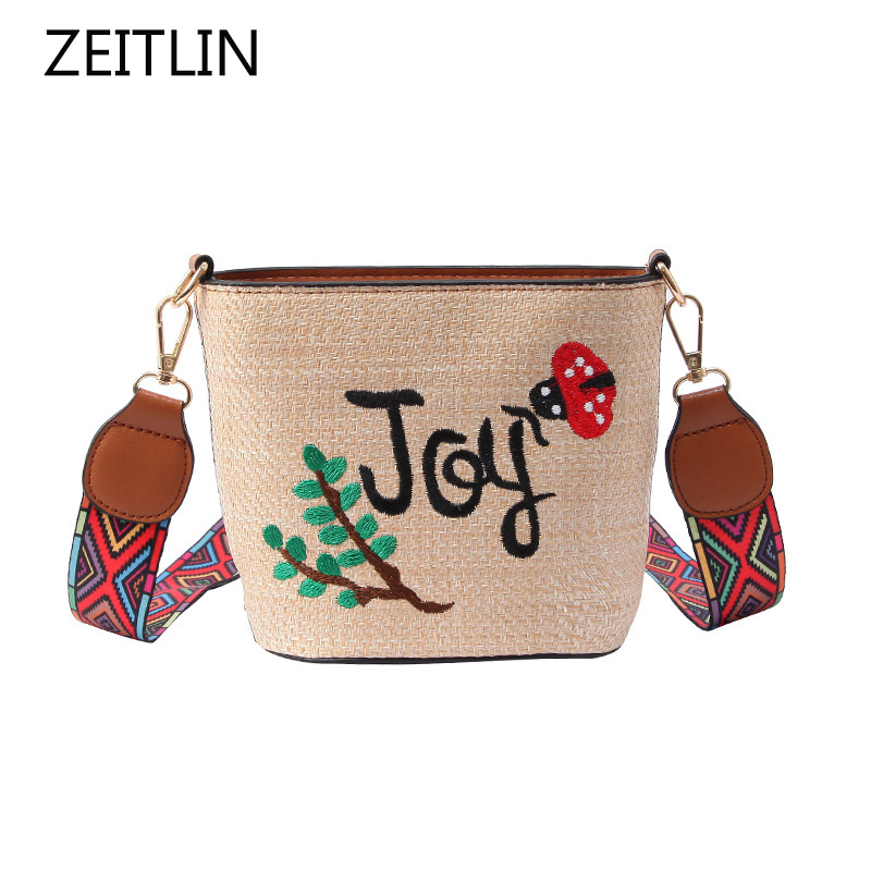 Cactus Pattern Embroidery Crossbody Braided Bag Women Shoulder Bucket Bag Woven National Straps Vacation Straw Tote Mochila S650