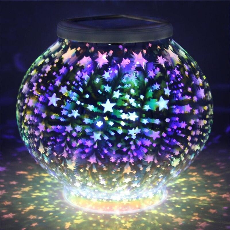 Color Changing Mosaic Solar Lamp Light Stars Waterproof