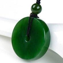 Natural jade verde tallado Pingan colgante hebilla de moda suéter cadena collar colgante de joyería de jade