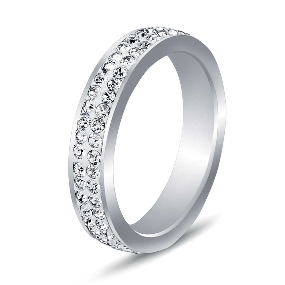 Mix Size 6/7/8/9# Free Shipping Wholesale Fashion Stainless Steel Ring Double White Lines(thin) Crystal Jewelry