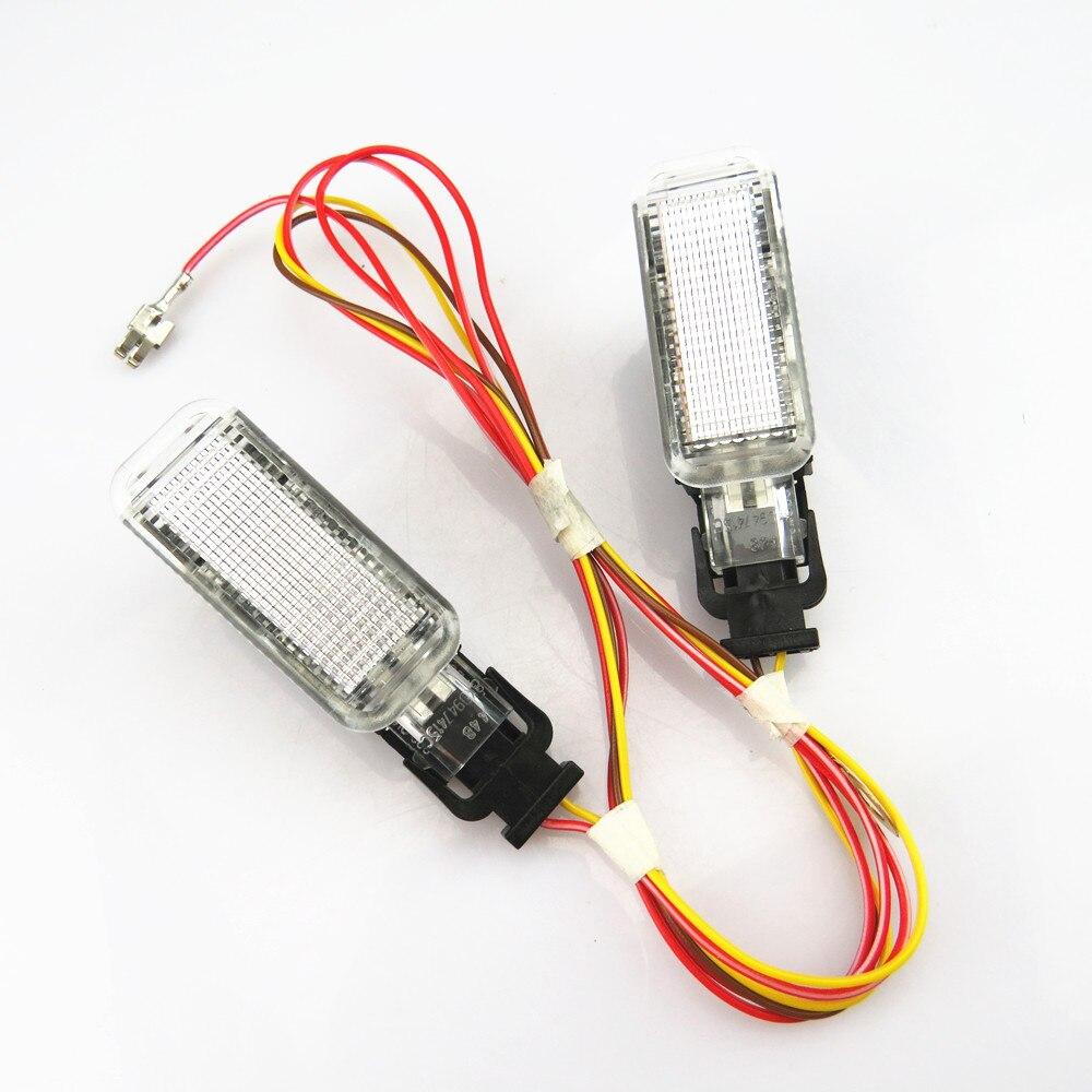 TUKE luz de Advertência Do Carro Interior Tronco Bem-vindo lâmpada Plugue Fio + 8KD947415C Para VW Phaeton Sharan A5 A6 S6 A8 q5 Q7 R8 Yeti S4 S5