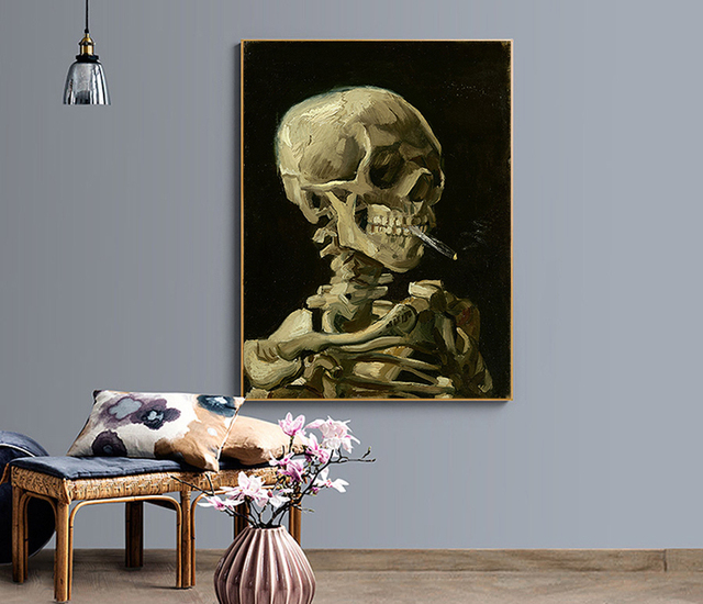 Strange Picture Painting By Numbers Kits Hand Painted Digital Coloring On Canvas Smoking Skull Classic Picture For Arts