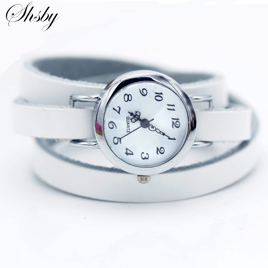 Shsby brand New fashion hot selling Long winding Genuine leather female silver watch ROMA vintage watch women dress watches in Women 39 s Watches from Watches