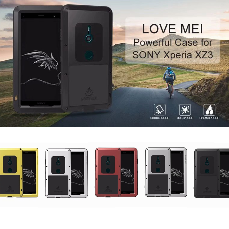 LOVEMEI Cover For Sony Xperia XZ3 Case Aluminum Metal Glass TPU Cover for Xperia XZ3 6