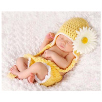 Newborn Baby Girl Boy Soft Handmade Crochet Photography Props Baby Cute Floral Photography Fotografia Accessories Hat Sets