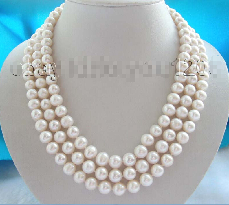 A 3rows Natural 10mm White Round Pearl Necklace 14KGP xiuli 001832 natural 9 10mm golden round pearl necklace 14kgp