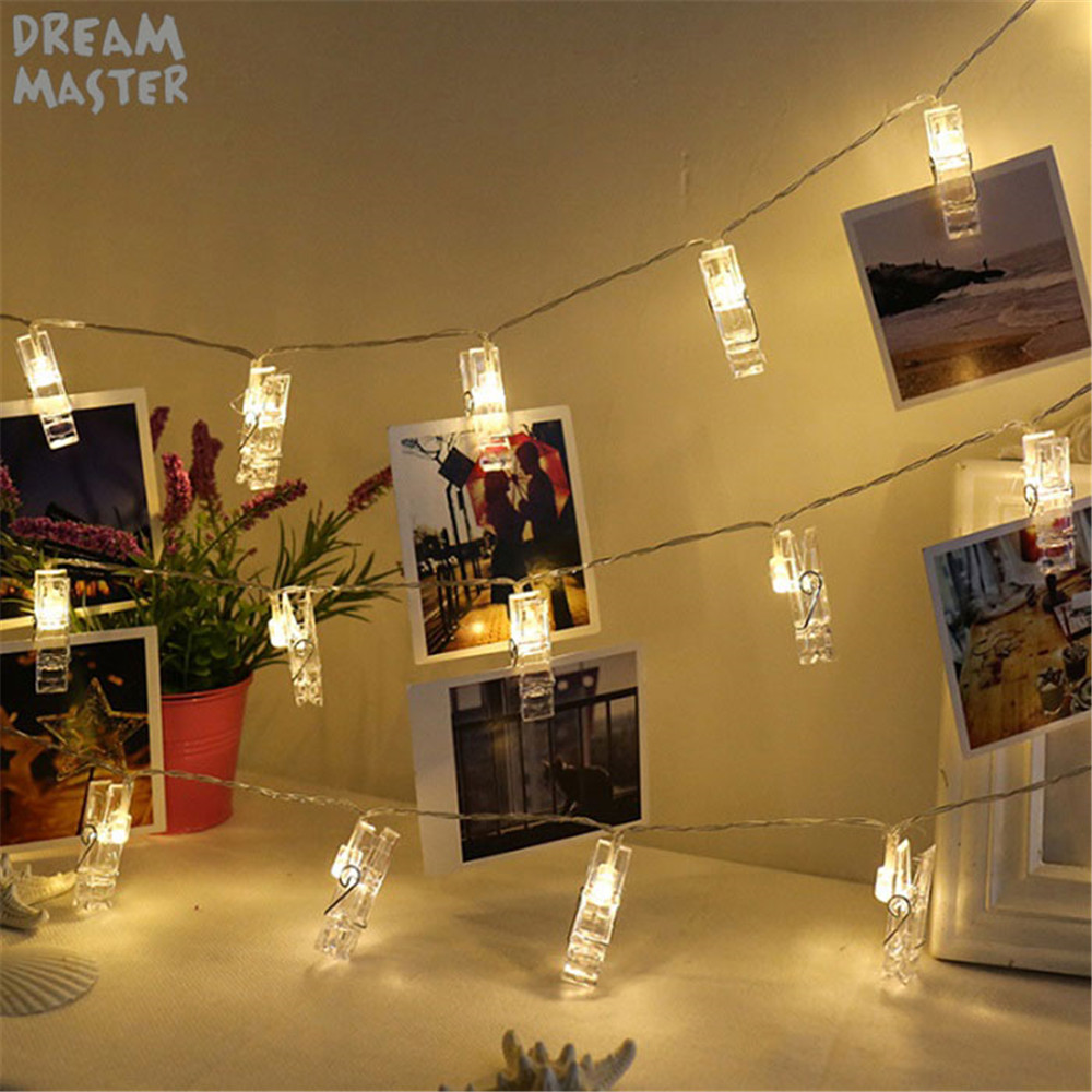 Led Holiday Lights Photo Clip Fairy String Light Garland Party Wedding Christmas Decoration Garden Lighting Battery USB Led Lamp