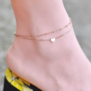 858bf94c7274 Calidad vendedora caliente Rosa oro color inoxidable doulbe cadena corazón  Amuletos Cadena de pie joyería tobillera mujeres