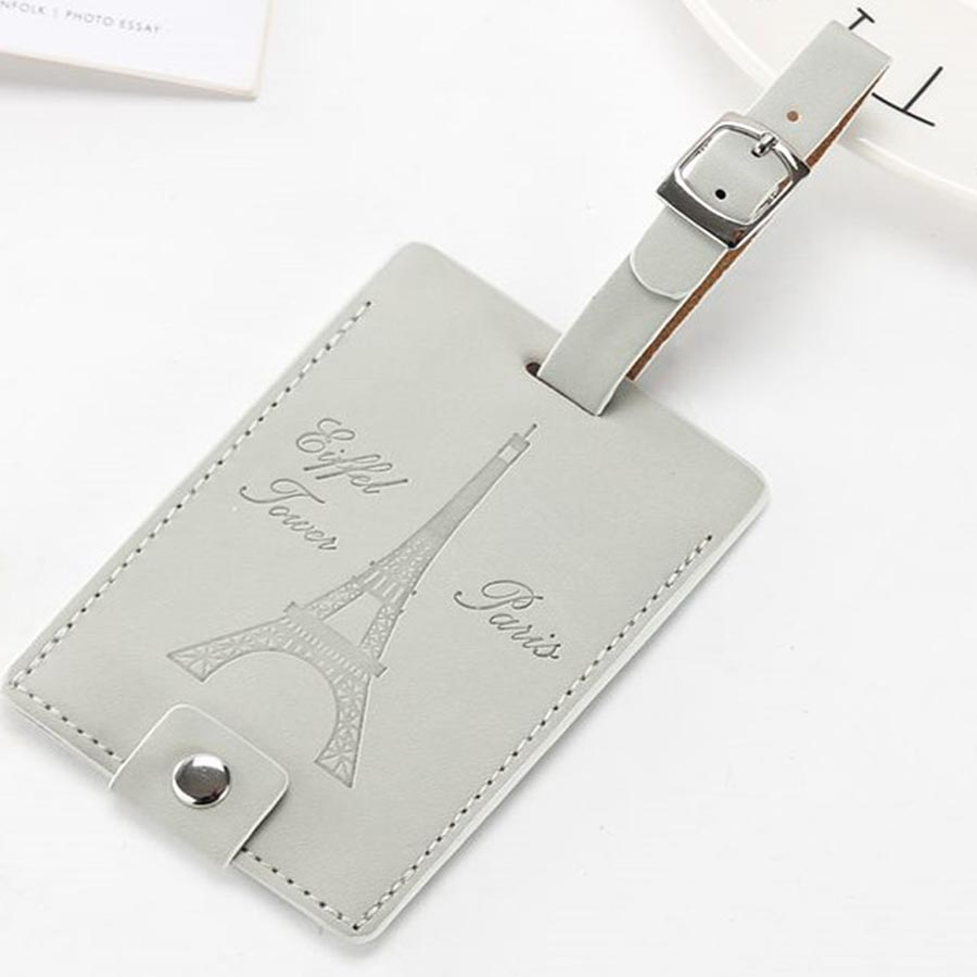 Zoukane Eiffel Tower Suitcase Leather Luggage Tag Label Bag Pendant Handbag Travel Accessories Name ID Address Tags LT07