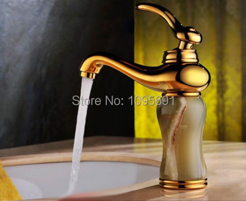 Luxury Single Handle Antique Brass Bathroom Faucet: Luxury Gold Plated Jade & Solid Brass Bathroom Vessel Sink