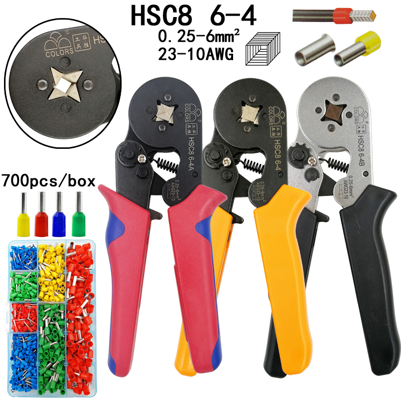COLORS HSC8 6-4 crimping pliers 0.25-6mm2 23-10AWG 700pcs tube type needle type terminal crimp red black orange brand tools colors hsc8 6 4 0 25 6mm2 23 10awg crimping pliers 700pcs terminals for tube type needle type terminal crimp self adjusting tool