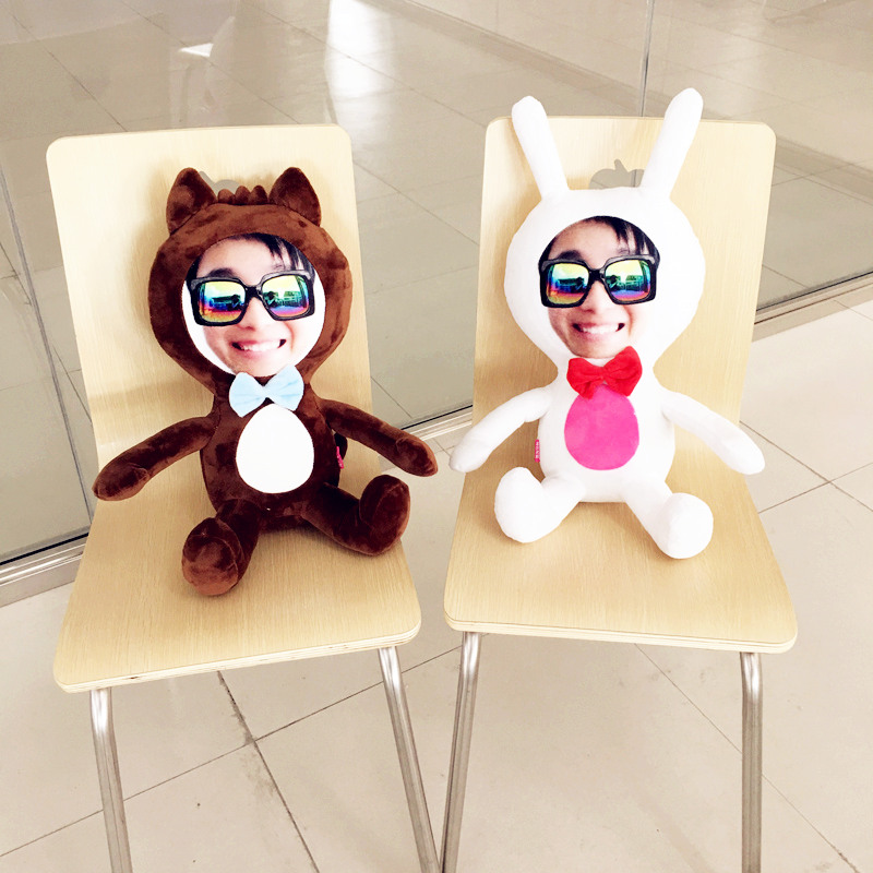 Provide photo The Wolf and the rabbit doll cushion Real human pillows Christmas decorations diy gift Birthday Valentine 39 s Day in Cushion from Home amp Garden
