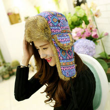 2015 New Fashion Women Printed Colorful Ear Flap Hat Warm Winter Russian Hat Ladies Ear Protect Trooper Trapper Hat