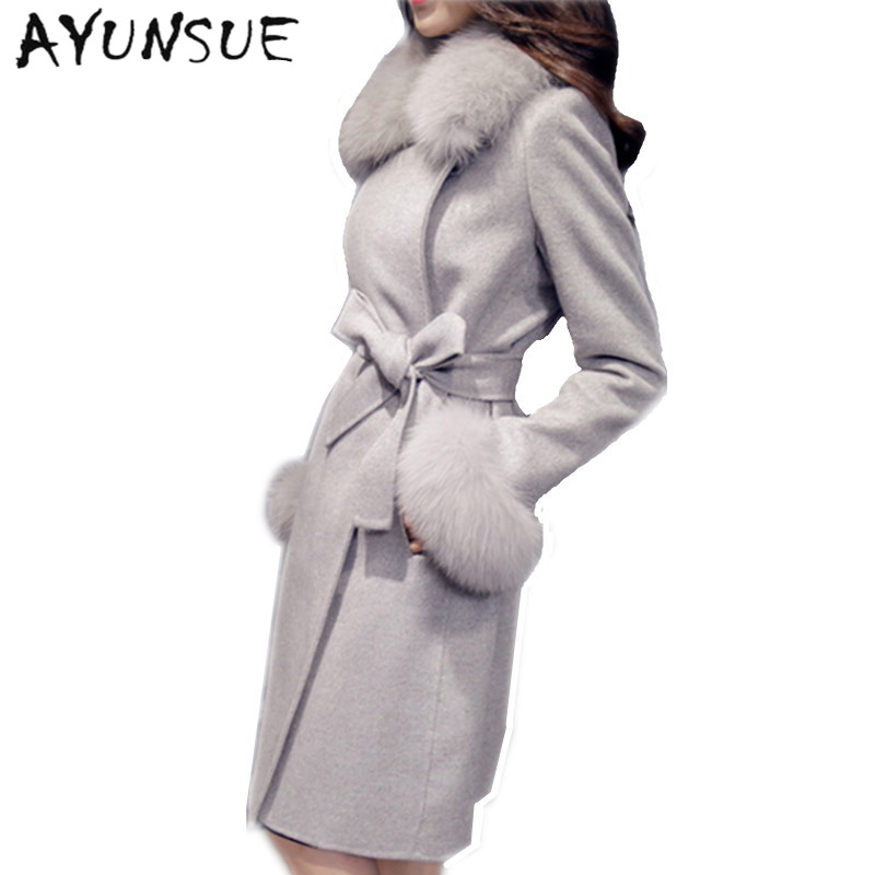 Large Fur Collar Wool Coat Women 2019 Autumn Winter New Slim Long Women Coat 3 Color Plus Size Casaco Feminino AW0307