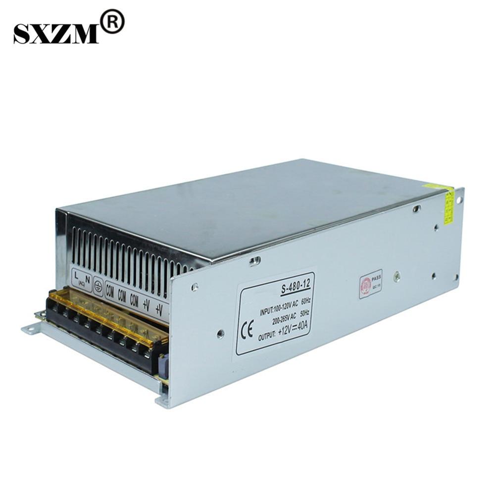 SXZM 12V40A Switch led transformer Aluminum power supply AC110V or AC220V for 3528 5050 5730 led strip light, led lamp