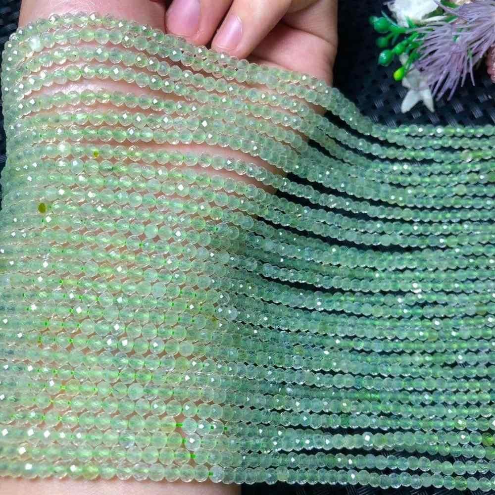 """Collier en pierres précieuses naturelles à facettes en forme de raisin vert de 3MM pour bracelet à bricoler soi-même femme collier de fabrication de bijoux 15 """"g"""