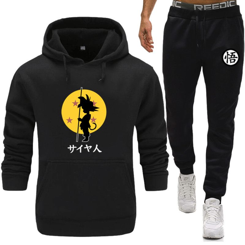 2019 Men Tracksuits Outwear Hoodies Dragon Ball Sportwear Sets Male Sweatshirts Warm Men Set Clothing+Pants Plus Size